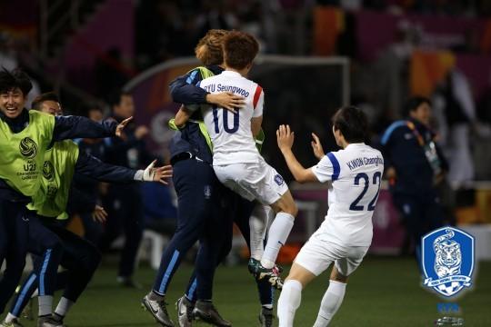카타르와의 경기에서 골을 기록한 류승우와 권창훈, 사진=대한축구협회 제공