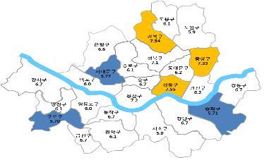 지난해 4분기 자치구별 전월세 전환율(단위:%)/자료:서울시