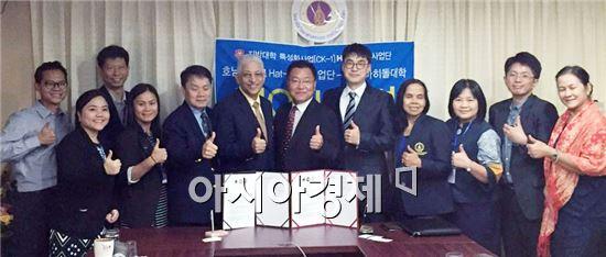 호남대학교 해트트릭사업단(단장 장재훈)은 25일 태국 마히돌대학교(Mahidol University, 학장 ARTH NANA)와 축구교류를 위한 MOU를 체결했다.