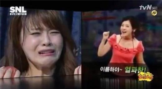 서유리 '로즈마리' 리포터 시절. 사진=tvN 'SNL코리아' 방송화면 캡처