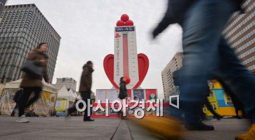 [포토]사랑의 온도탑, 모금 마감 이틀 전