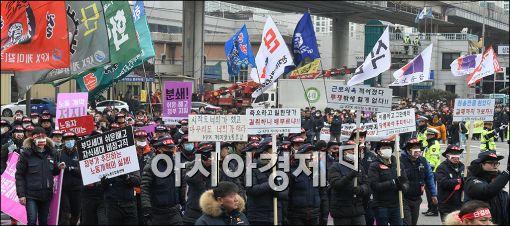 [포토]한국노총, 노동개혁법안 저지 시가 행진