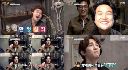 '뇌섹 시대-문제적 남자' 개인기를 선보이는 전현무와 팀원들. 사진=tvN 방송화면 캡처