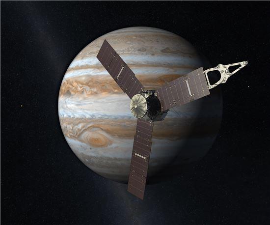 ▲주노 탐사선이 목성 궤도 진입을 위한 첫 번째 궤도수정 작업을 거쳤다.[사진제공=NASA]