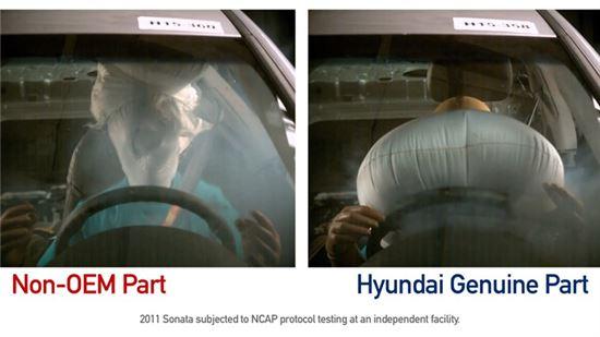 현대차가 2011년 쏘나타를 대상으로 위조부품 에어백(좌)과 순정부품 에어백(우)을 테스트한 모습