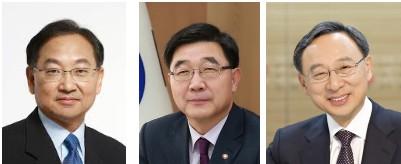 왼쪽부터 유일호 경제부총리, 이기권 고용노동부 장관, 황창규 KT 회장