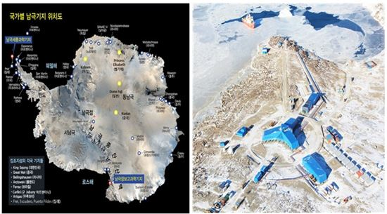 남극 과학기지 현황(좌) 장보고 과학기지 현황(우)