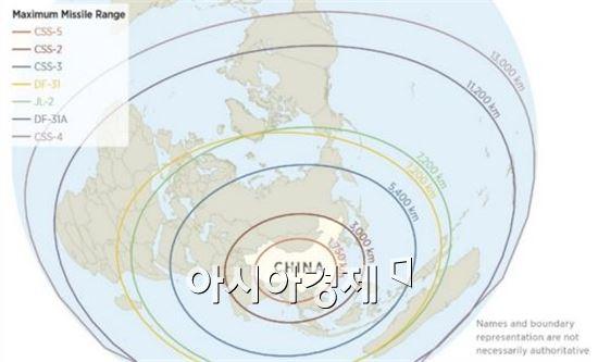 중국 미사일의 최대 사거리.제일 바깥쪽이 DF-5(CSS-4)