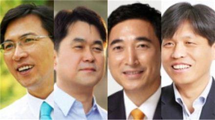 왼쪽부터 안희정 지사, 김종민 예비후보, 박수현 의원, 조승래 예비후보