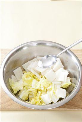 1. 배춧잎과 무는 나박나박하게 썰어 굵은 소금을 솔솔 뿌려 20분 정도 절인다. (Tip 당근이나 배를 모양틀에 찍어 넣어도 좋다.)