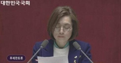 필리버스터 국내 최장기록을 세운 은수미 더불어민주당 의원[사진=국회방송]