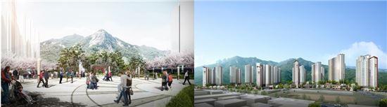 왼쪽부터 의정부 직동근린공원 내 조성되는 청파원, 의정부 롯데캐슬 골드파크 투시도(자료:롯데건설)