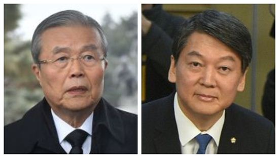 김종인 더민주 비대위 대표와 안철수 국민의당 공동대표