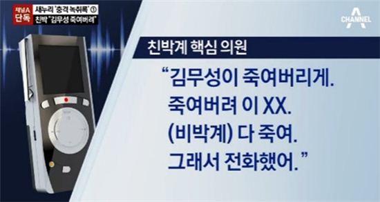 윤상현 새누리당 의원 '욕설' 발언. 사진 = 채널A 방송화면 캡처