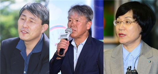 왼쪽부터 조훈현 9단, 엄홍길 대장, 권선주 은행장. 사진=한국기원 제공, 스포츠투데이DB, 아시아경제DB