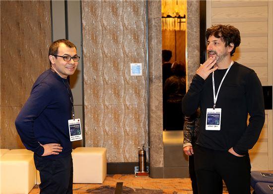 데미스 하사비스 딥마인드 CEO와 세르게이 브린 알파벳 사장(사진=구글)