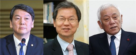 (왼쪽부터) 안철수·천정배 국민의당 공동대표, 김한길 국민의당 의원