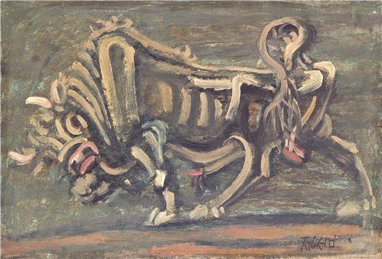 이중섭 '황소', 1953년경, 종이에 에나멜과 유채, 35.5x52cm