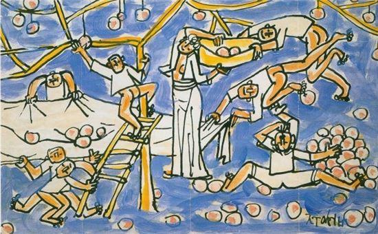 이중섭 '과수원의 가족과 아이들', 연대미상, 20.3x32.8cm, 복제품