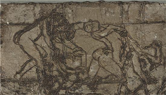 이중섭, '가족', 1953년경, 은지에 새김, 유채,  8.5x15cm