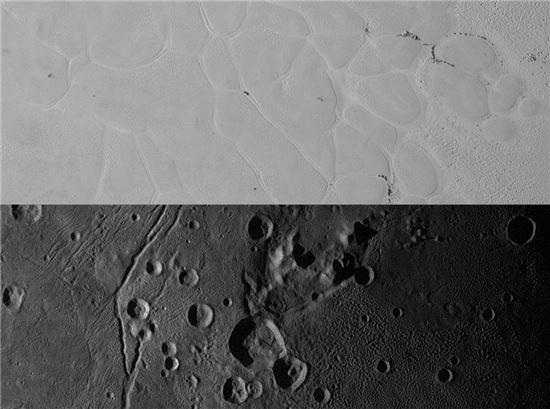 ▲명왕성의 스푸트니크 평원(위쪽)과 위성인 카론의 벌컨 평원.[사진제공=NASA]