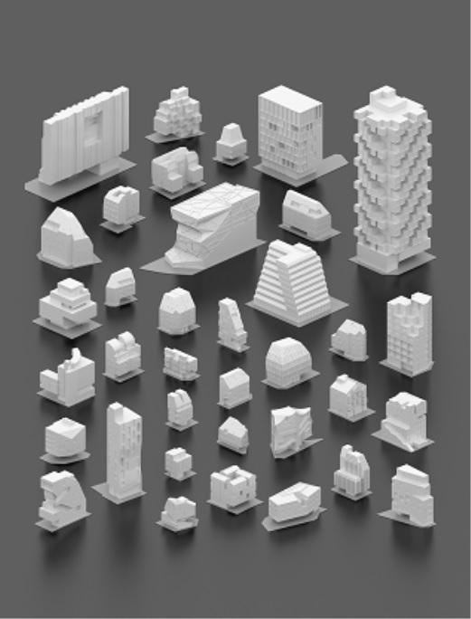 용적률 게임의 과정을 이해하기 쉽게 도와주는 36개 건축물 다이어그램의 일부.