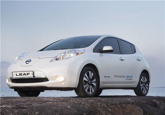 롯데하이마트는 18일부터 제주지역에서 세계적 전기자동차 닛산 리프(LEAF) SL모델을 판매한다.