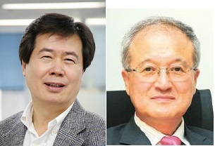 한세실업 이용백 부회장(좌)과 영원무역 성기학 회장(우)<사진=아시아경제>