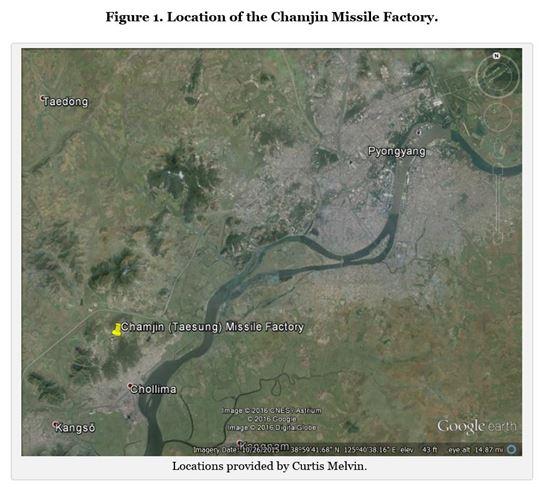 북한이 미사일 탄두의 대기권 재진입 모의시험을 한 곳으로 지목된 남포 잠진 공장. (사진=38노스)