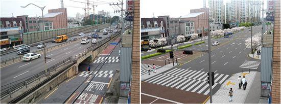 매봉초등학교 100m 주변 현재모습(좌)과 예상도(자료:서울시)