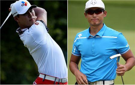 김민휘(오른쪽)와 김시우가 셸휴스턴오픈 셋째날 나란히 공동 10위에서 우승경쟁을 펼치고 있다.