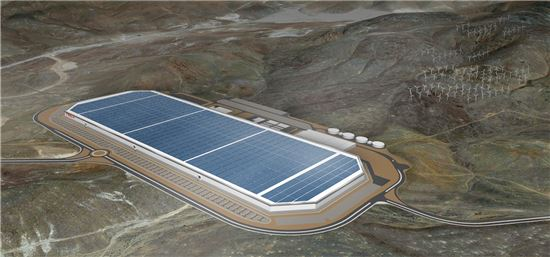 테슬라가 5일(현지시간) 공개한 세계 최대 배터리공장 '기가팩토리' 예상도. (사진 = 테슬라 홈페이지)