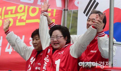 """[포토]김무성, """"김을동 후보 3선의원 만들어 주십시오"""""""