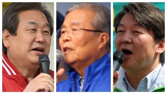 (왼쪽부터) 김무성 새누리당 대표, 김종인 더불어민주당 대표, 안철수 국민의당 상임 공동대표