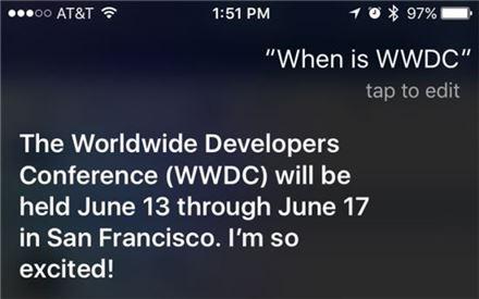 """시리의 귀띔…""""애플 개발자회의 6월13일~17일"""""""