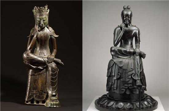 (왼쪽)국보 제78호 반가사유상, 삼국시대, 6세기, 금동, 높이 82cm (오른쪽) 국보 주구사 반가사유상, 일본 아스카시대, 7세기, 목제(녹나무), 높이 168cm
