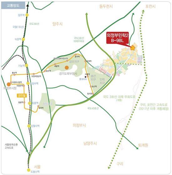 의정부 민락2지구 B-9블록 위치도(제공: LH)
