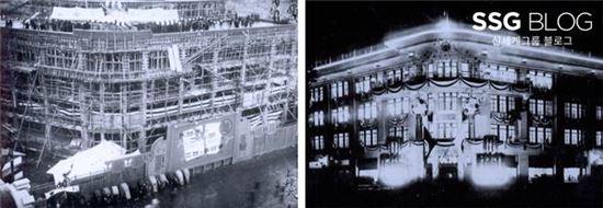 미스코시백화점 경성점 신축장면(왼), 조명으로 장식한 미스코시 경성점 외관 야경(오)