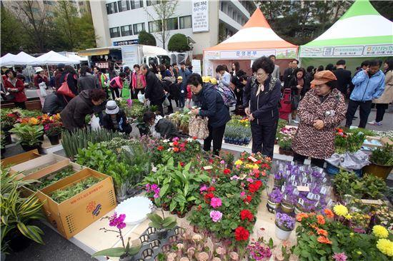 지난해 열린 봄꽃 식품 직거래장터