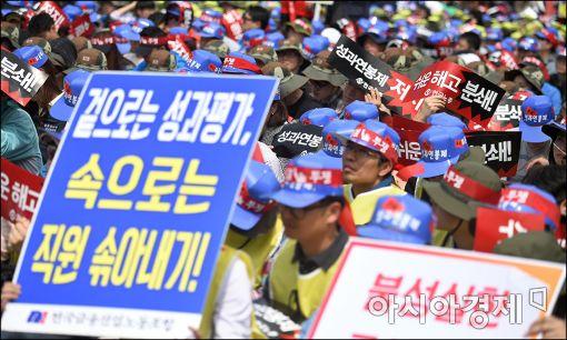 [포토]구호외치는 노동자들