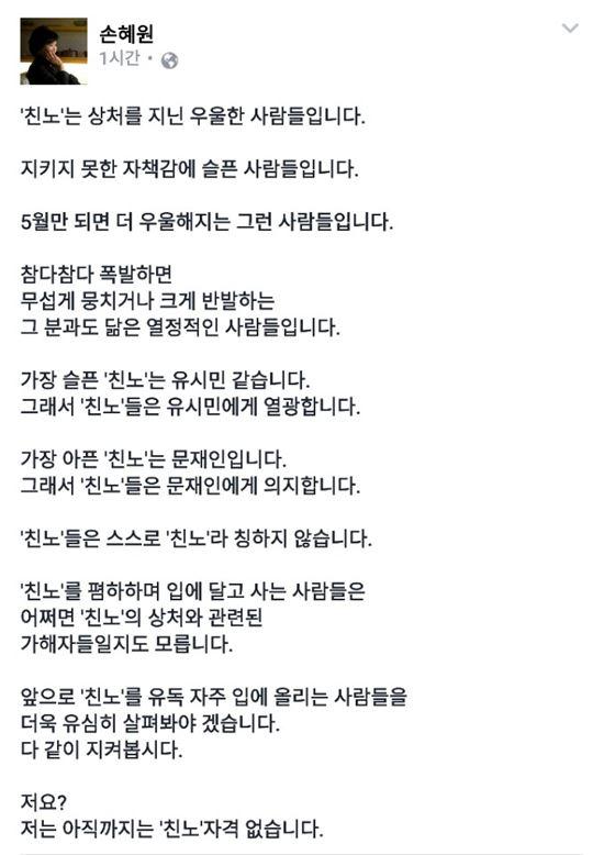 사진= 손혜원 페이스북 캡처