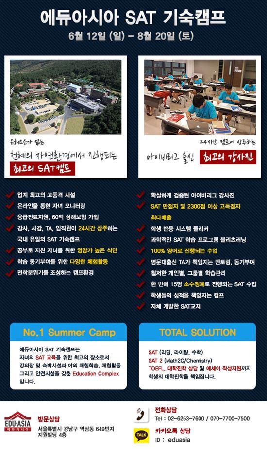 만점 최다배출 SAT 학원 '에듀아시아' SAT 기숙캠프