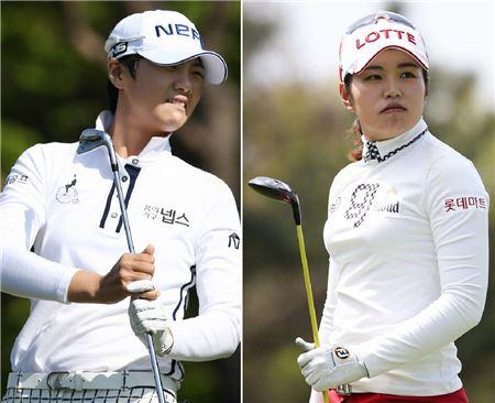 박성현(왼쪽)과 장수연이 두산매치플레이서 '매치퀸'을 놓고 격돌한다. 사진=KLPGA