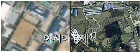 논산 육군훈련소 위성 이미지. 구글지도(왼쪽)와 네이버지도(오른쪽)