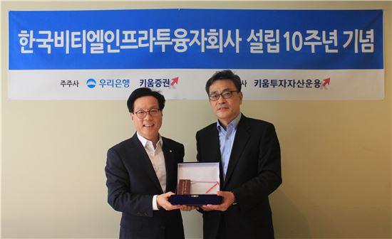 (왼쪽부터)김홍구 우리은행 IB본부 부행장, 이현 키움투자자산운용 대표이사가 한국비티엘인프라투융자회사 설립 10주년 기념식에 참석했다.