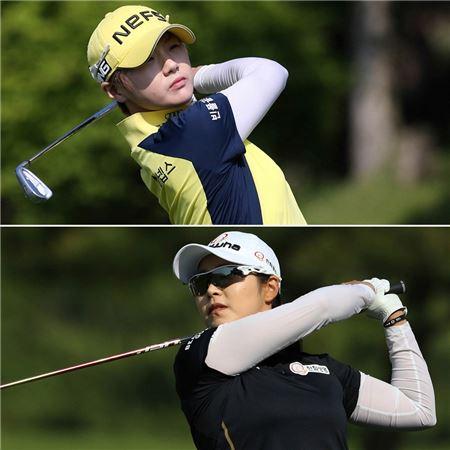 박성현(위)과 김지현이 두산매치플레이챔피언십 결승전에서 격돌한다.