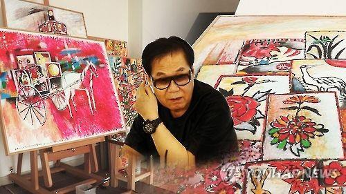 화가 겸 가수 조영남과 그의 그림들. 최근 그림 대작 사건과 관련되어 수사를 받고 있다. 만약 로봇비서가 그림을 그렸다면 어떻게 되었을까.