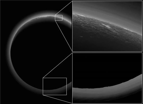 ▲명왕성의 빛나는 대기 연무층.[사진제공=NASA]