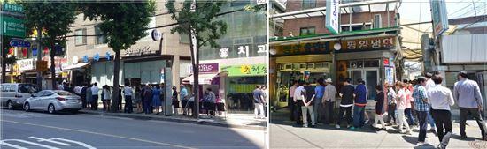 이달 들어 불볕더위가 이어지면서 서울 중구와 마포구의 유명 냉면집 앞에 점심을 먹기 위해 찾아온 손님들이 길게 줄을 서서 순서를 기다리고 있다.