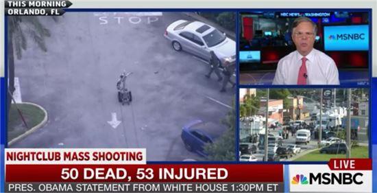 미국 현지에서 방송 중인 총기난사 사건.